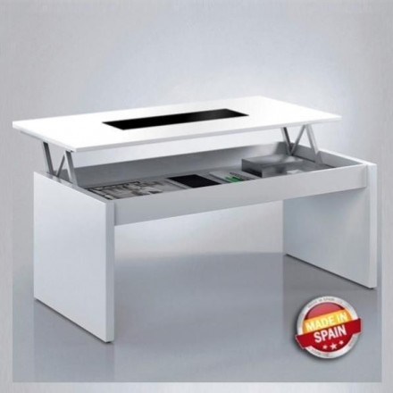 Mesa de centro elevable MADE IN SPAIN color blanco brillo y cristal negro