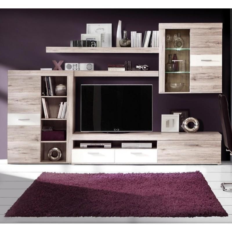 Mueble de salón modular TRAMA color roble y blanco de 300 cm