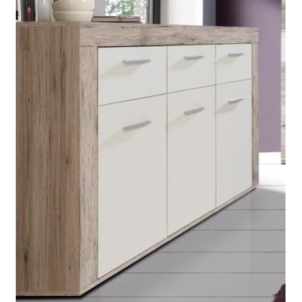 Mueble aparador de comedor TRAMA color roble y blanco mate 135x41 cm