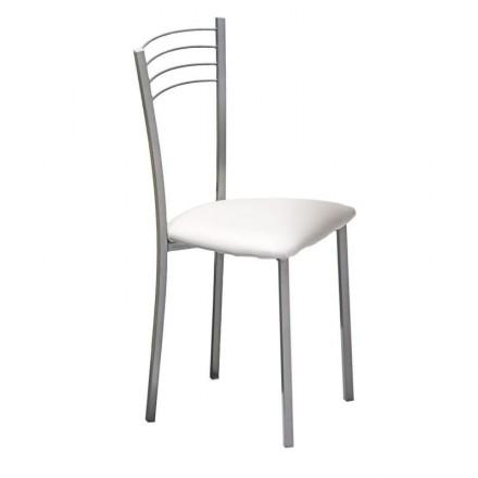 Silla de cocina COLINA  asiento tapizado PU blanco y estructura de metal