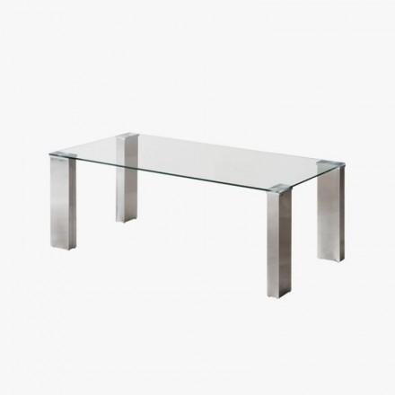 Mesa de centro KARINA cristal templado y pies de acero