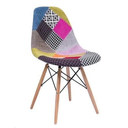 Silla de comedor tapizada en patchwork MAX inspiración silla Tower de Eames