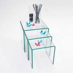 Mesitas auxiliares de cristal curvado tipo nido Murano 3