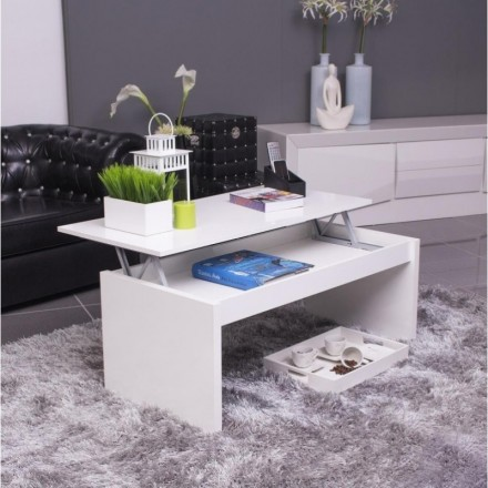 Mesa de centro elevable BÁSICA color blanco brillo
