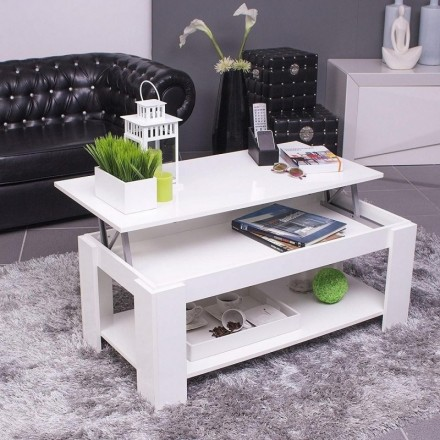 Mesa de centro elevable FANTÁSTICA con revistero color blanco brillo