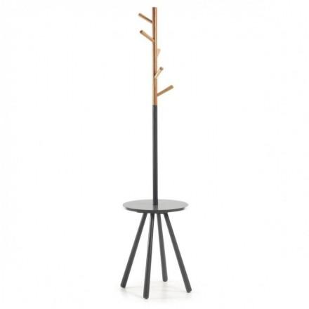 Perchero BREN madera acabado natural y lacado en gris diseño nórdico