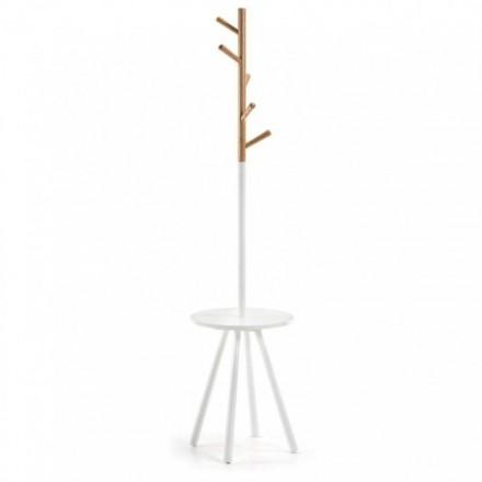 Perchero BREN madera natural y lacado blanco puro diseño nórdico