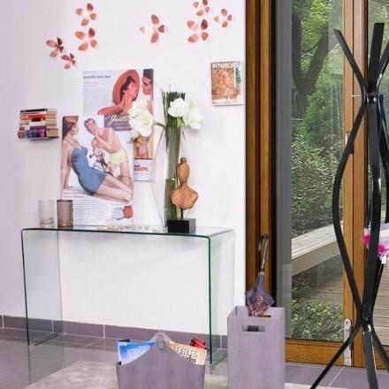 Mesa consola de cristal curvado y templado BURANO