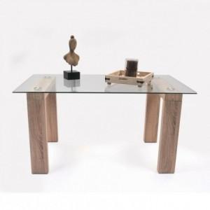 Mesa de Comedor Alba. Mesa de cristal con patas en color roble