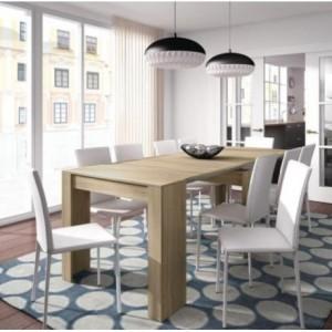 Mesa consola extensible en color ROBLE multifunción convertible en mesa de comedor/cocina y escritorio