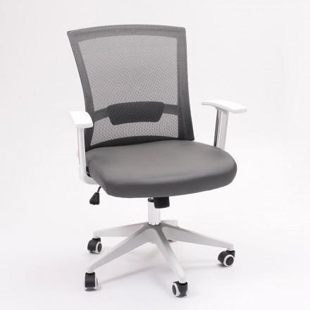 Silla de oficina con brazos CONFORT, base de ruedas y giratoria Blanco