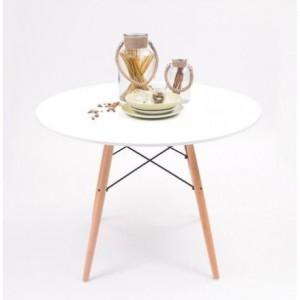 Mesa de cocina o comedor redonda TOWER sobre lacado en blanco y pie central tipo Eames 100 cm