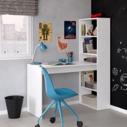 Mesa de estudio juvenil con estantería DUPLO melanina color blanco 120x53 cm
