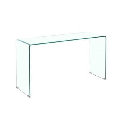 Mesa consola de cristal curvado y templado KRIS 110x36 h-76 cm