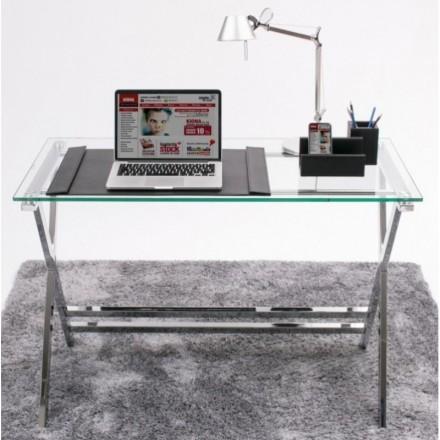 Mesa de escritorio EQUIS sobre de cristal templado y estructura de metal 110x55 cm