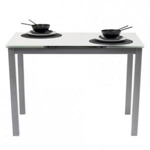 Mesa de cocina extensible PARIS ÓPTICO sobre de cristal blanco PURO y estructura en metal gris 110/170x70cm