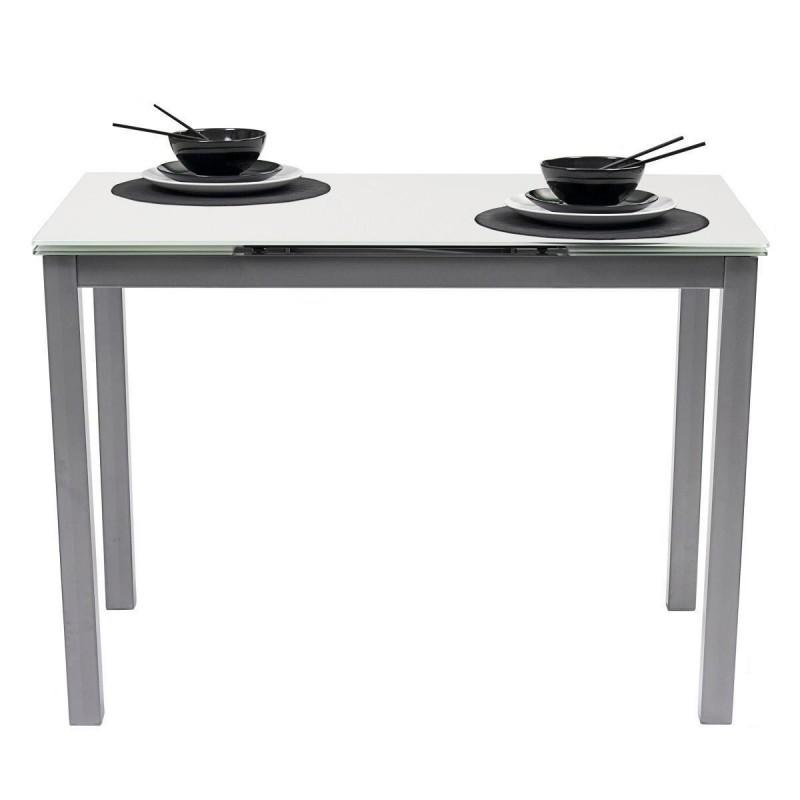 Mesa de cocina extensible PARIS sobre de cristal templado blanco y estructura en metal gris 110/170x70cm