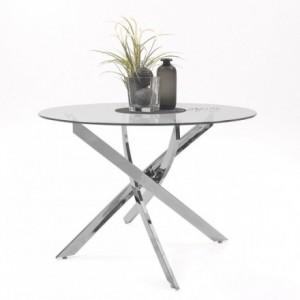 Mesa de comedor redonda DALILA II cristal templado y pies de metal cromado 110 cm
