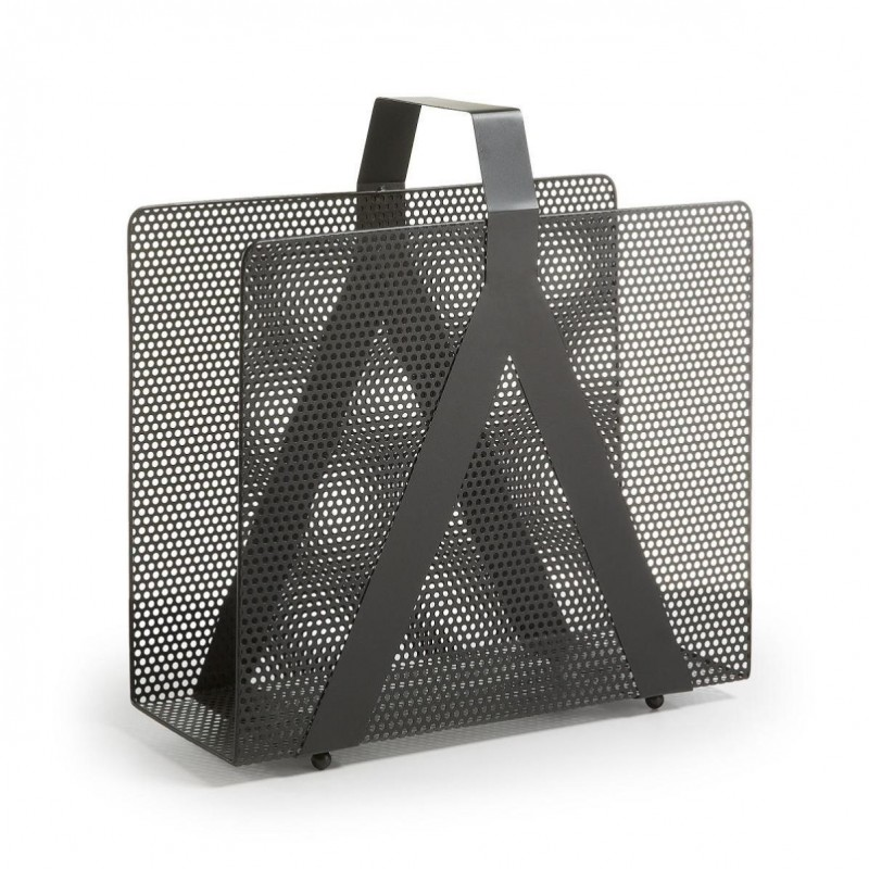 GRAPH revistero de metal perforado negro