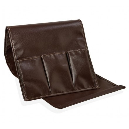 Portamandos de 3 compartimentos para brazo de sofá efecto piel - Organizador mandos a distancia