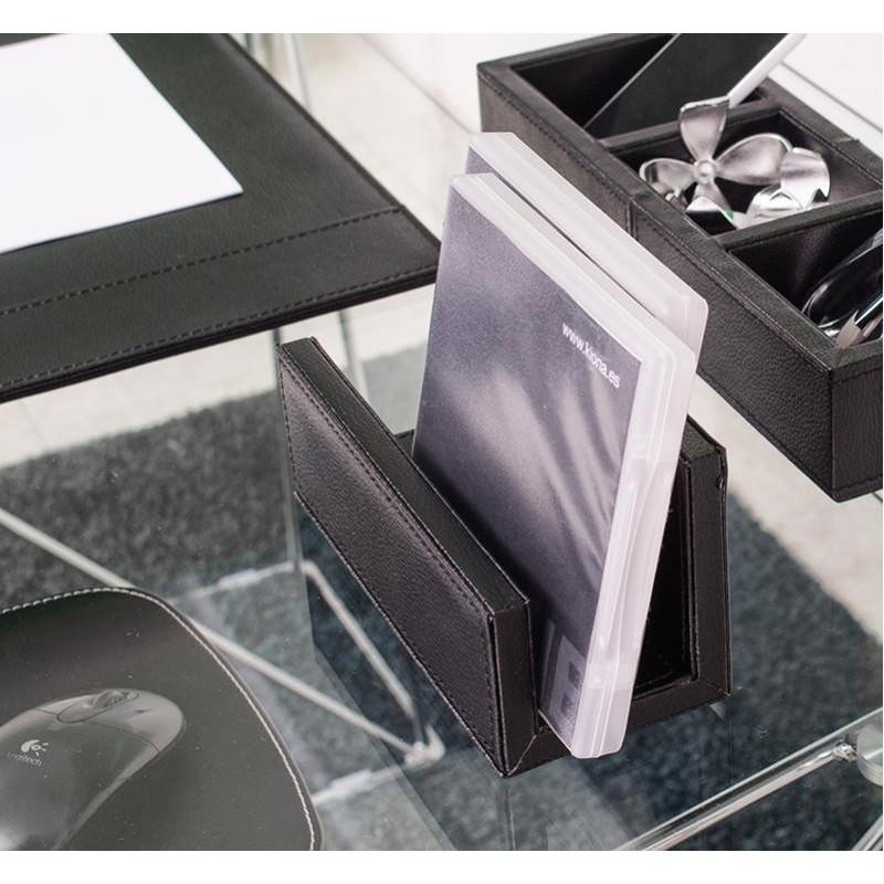 Soporte portacartas de escritorio efecto piel