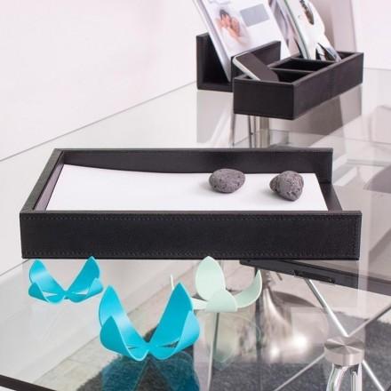 Bandeja portadocumentos de escritorio efecto piel