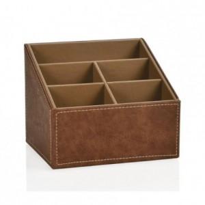 Caja portamandos de 5 compartimentos efecto piel envejecida, organizador de mandos