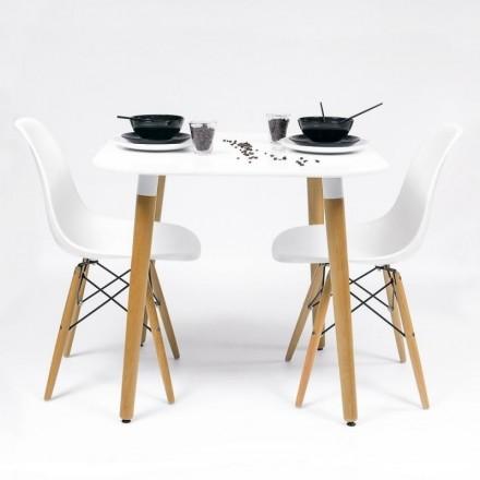 Conjunto de cocina-comedor NORDIK-80 con mesa lacada blanca y 2 sillas tower Eames