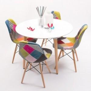 Conjunto de comedor TOWER Patchwork con mesa lacada blanca y 4 sillas eames tapizadas tela Vintage