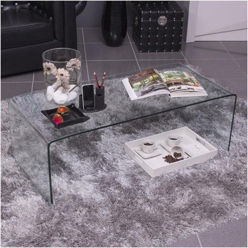 Mesa de centro BURANO de cristal templado y curvado de 1 pieza