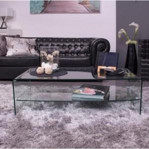 Mesa de centro con revistero BURANO de cristal templado y curvado de una pieza