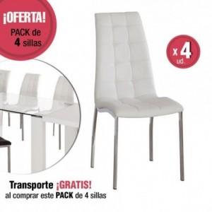 Juego de 4 sillas de comedor VALMA tapizadas en polipiel y patas cromadas