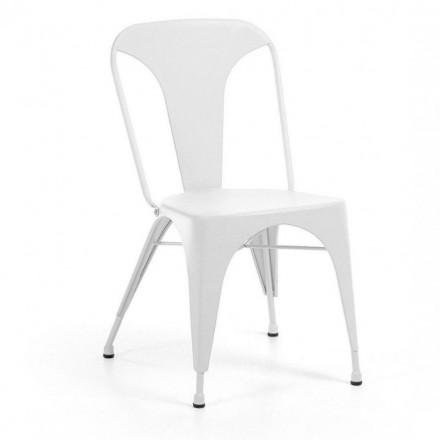Silla metálica industrial MALIBU color blanco inspiración Tolix