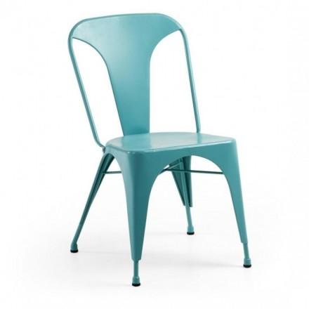 Silla metálica industrial MALIBU color turquesa inspiración Tolix