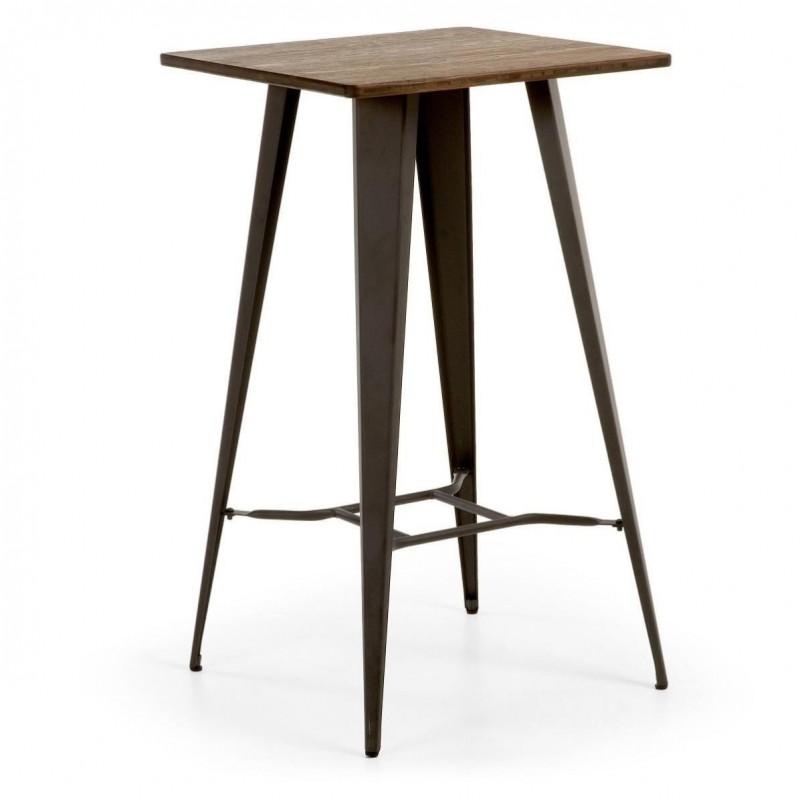 Mesa de cocina diseño industrial MALIBU sobre de bambú y pies de acero color grafito 60x60 cm