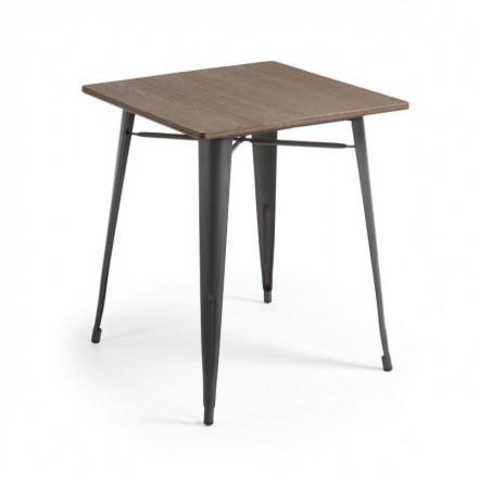 Mesa metálica industrial MALIBU acero y bambú color grafito 80x80 cm
