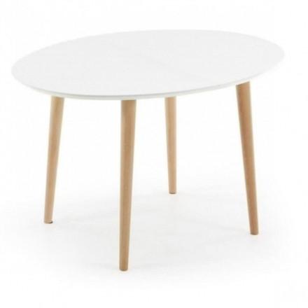 Mesa de comedor extensible de diseño nórdico OAKLAND sobre dm lacado blanco y pies de madera 120/200x90 cm