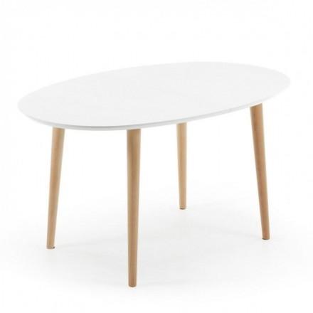 Mesa extensible OAKLAND de diseño nórdico en madera 140/220x90 cm