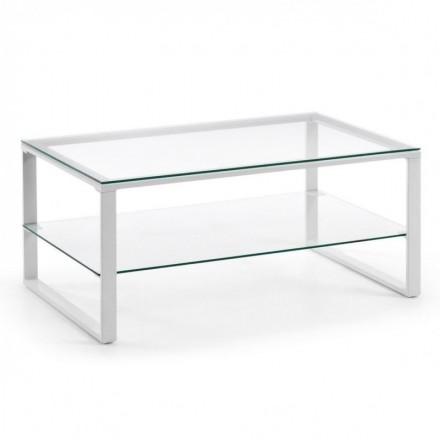 Mesa de centro NAVIS tapa y revistero de cristal y estructura de metal