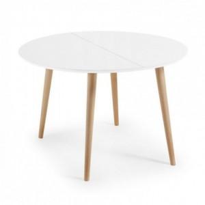 Mesa de comedor redonda y extensible de diseño nórdico OAKLAND sobre dm lacado blanco y pies de madera 120/200x120 cm