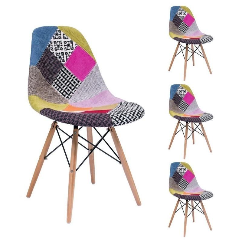 Pack de 4 sillas de comedor MAX PATCHWORK inspiración silla Tower de Eames