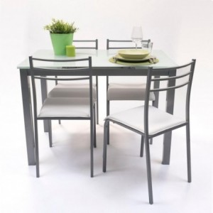 Conjunto de mesa de cocina extensible con 4 sillas PARIS