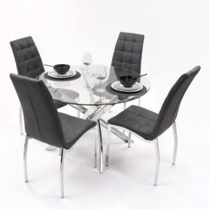 Conjunto de comedor DALILA con mesa redonda y 4 sillas tapizadas