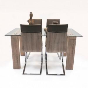 Conjunto de comedor Kala. 4 sillas Kala y mesa de cristal y madera Alba