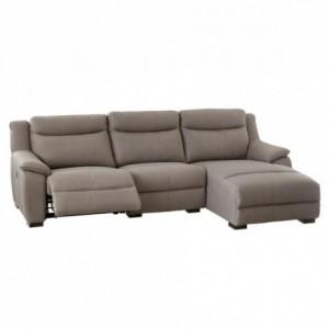 Sofa de tres plazas y chaise longue CAMILA con relax de motor. Tapizado tela