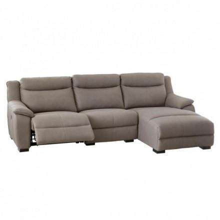 Sofá de tres plazas y chaise longue CAMILA tapizado en tela con relax de motor
