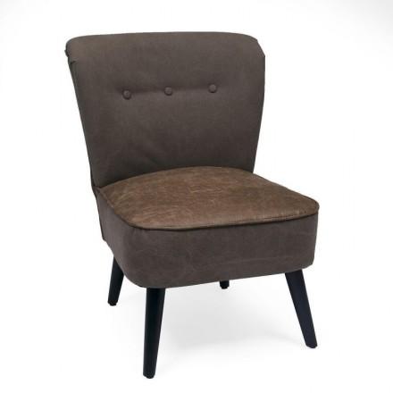 Butaca de estilo vintage MARLENE tapizada en polipiel marrón y pies de madera en negro