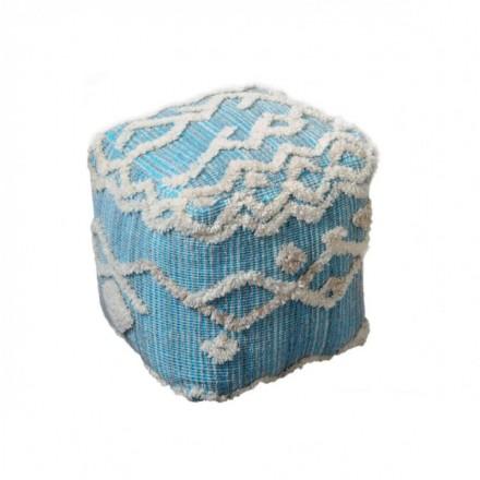 Puf cuadrado con bordado azul y blanco KENYA 40x40
