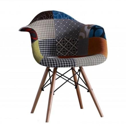Sillón CHAPELLE tapizado tela patchwork inspiración sillón Tower de Eames