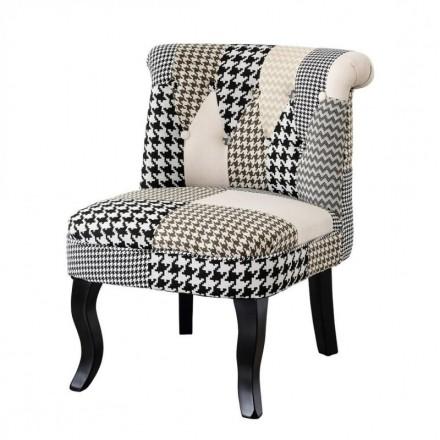 Butaca de estilo vintage LARA tapizada en tela patchwork pata de gallo y pies de madera en negro